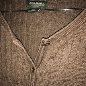 Eddie Bauer Brown Cable Cardigan Medium